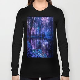 Enchanted Forest Lake Purple Blue Long Sleeve T-shirt