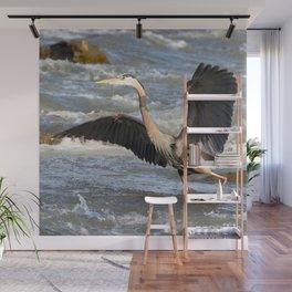 Watercolor Bird, Great Blue Heron 05, Rappahanock River, Virginia, Why Did the Heron Cros the River? Wall Mural