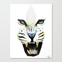 cheetah Canvas Prints featuring Cheetah  by Tetevi Teteh