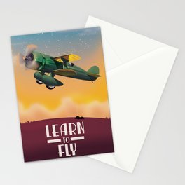 Learn To Fly, vintage flight travel poster Stationery Cards