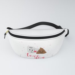 Poop and toilet tissue couple in romantic mood Fanny Pack