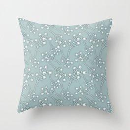 Baby's Breath Flower Pattern - Grey Green Throw Pillow