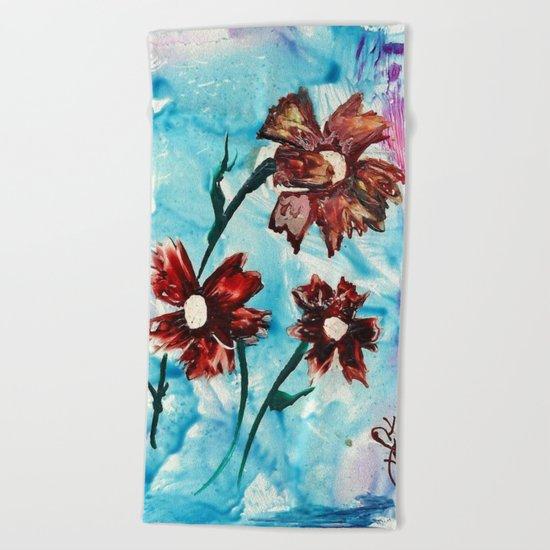 Brown flowers Beach Towel