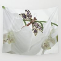 dragonfly Wall Tapestries featuring Dragonfly by Katiy Jensen