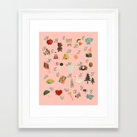 alphabet Framed Art Prints featuring Alphabet by The Midnight Rabbit