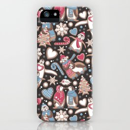 Penguin Christmas gingerbread biscuits iPhone Case