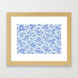 Dynamic Blue Stars of David Pattern Framed Art Print