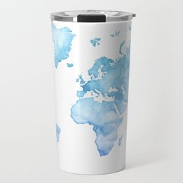 Light blue watercolor world map Travel Mug