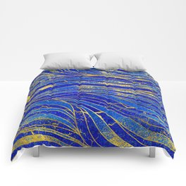 Lapis Lazuli and gold vaves pattern Comforters
