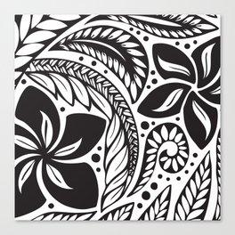 Circular Polynesian Black Floral Tattoo Canvas Print