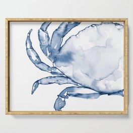 Coastal Crab in Watercolor, Navy Blue (Left Half in Set) Serving Tray