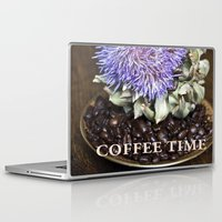 coffe Laptop & iPad Skins featuring Coffe Beans and Blue Flower of Artichoke by CAPTAINSILVA