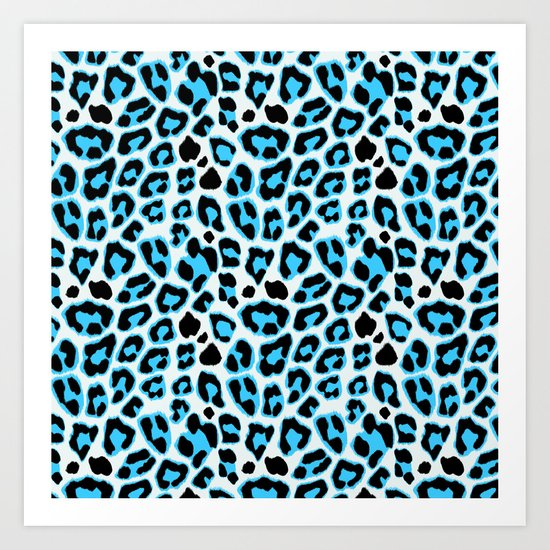 Blue & Black Leopard Print Pattern Art Print