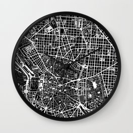 Madrid city map black&white Wall Clock