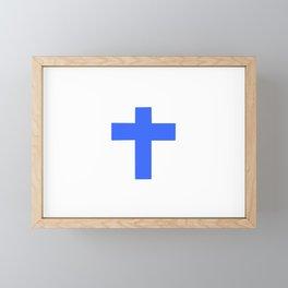 Christian Cross 9- blue Framed Mini Art Print