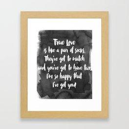 True Love. White and Black. Framed Art Print