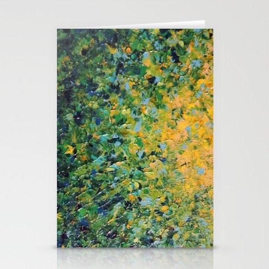 IRISH SUNRISE - Beautiful BOLD Lime Kelly Forest Green Sunrise Sunset Abstract Nature Painting Stationery Cards