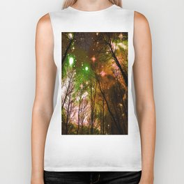 Black Trees Peach Brown Green Space Biker Tank