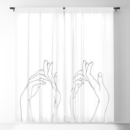 Hands line drawing illustration - Abi Blackout Curtain