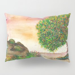 Countryside Watercolor Illustration Pillow Sham