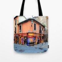 grafitti Tote Bags featuring Grafitti on Elvira Street by Simon Ede Photography