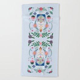 Fairy Tale Folk Art Garden Beach Towel