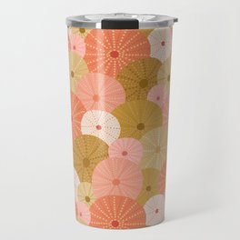 Sea Urchins in Coral + Gold Travel Mug