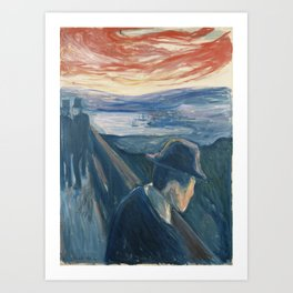 Edvard Munch - Sick Mood at Sunset. Despair Art Print