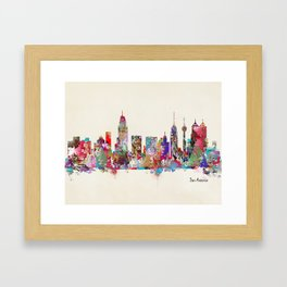 San Antonio Texas skyline Framed Art Print