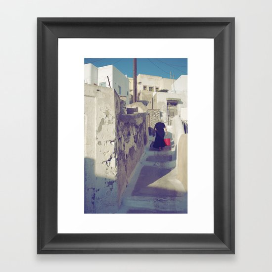 Streets of Santorini IV Framed Art Print
