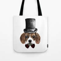 beagle Tote Bags featuring Beagle by bylosangeles