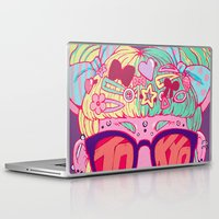travel poster Laptop & iPad Skins featuring Tokyo Travel Poster by Caitlin Quirk