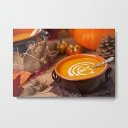 Creamy pumpkin soup on a rustic table Metal Print