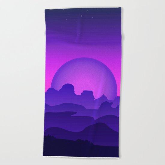 Night Landscape Beach Towel