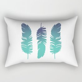 Three Feathers Turquoise white background Rectangular Pillow