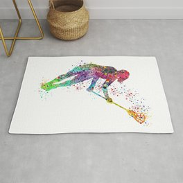 Lacrosse Girl Colorful Watercolor Sports Art Rug