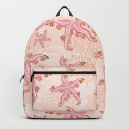 Starfish and Coral Pink Pastel Pattern Backpack
