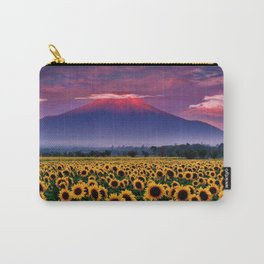 Sunflowers & Sunflower fields at Mount Fuji, Japan at Sunset - Jeanpaul Ferro Carry-All Pouch