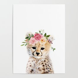 Baby Cheetah with Flower Crown Poster