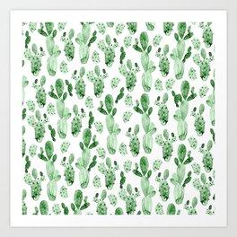 Green Cactus Field Art Print