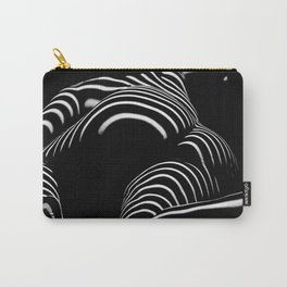 0758-AR BW Abstract Art Nude Striped Carry-All Pouch