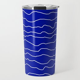 Blue with White Squiggly Lines Travel Mug