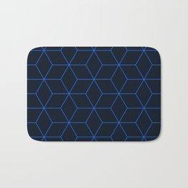 Cube Pattern 01 Blue Bath Mat