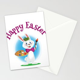 Happy Easter Bunny Painter with Paintbrush Stationery Cards