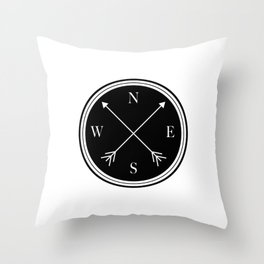Directions \\ Abstract Compass Design Throw Pillow