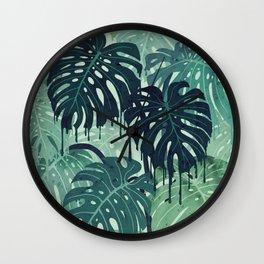 Monstera Melt (in Green) Wall Clock