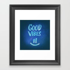 Good Vibes - Funny Smiley Statement / Happy Face (Blue Stars Edit) Framed Art Print