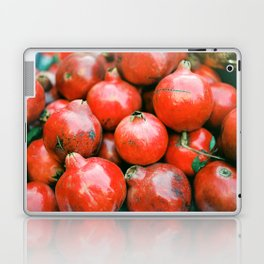Red pomegranates on a fruit cart in Marrakech Morocco | Colorful travel food photography Laptop & iPad Skin