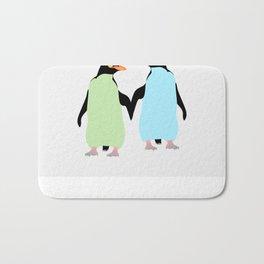 Gay Pride Penguins Holding Hands Bath Mat