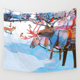 Reindeers and friends Wall Tapestry